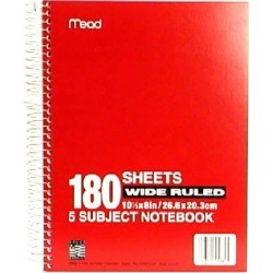 Mead 5 Subject Notebook, Wide Ruled, 180 Sheets - 1ct