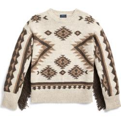 Ralph Lauren Fringe-Trim Wool Sweater in Tan Multi - Size M