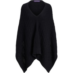 Ralph Lauren Cable Cashmere Poncho Scarf in Black - Size One Size found on Bargain Bro from Ralph Lauren for USD $376.20