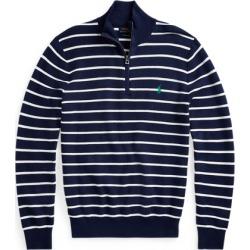 Ralph Lauren Striped Cotton Mesh Quarter-Zip Sweater in Navy/White - Size XL found on Bargain Bro from Ralph Lauren for USD $60.79
