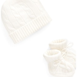 Ralph Lauren Cashmere Hat & Bootie Set in Warm White - Size 6-9M found on Bargain Bro India from Ralph Lauren for $95.00