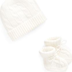 Ralph Lauren Cashmere Hat & Bootie Set in Warm White - Size 6-9M found on Bargain Bro India from Ralph Lauren for $95.00