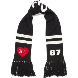 Ralph Lauren Polo Stadium Wool-Blend Scarf in Black - Size One Size