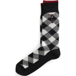 Ralph Lauren Polo Bear Buffalo Check Boot Socks in Black & White - Size One Size found on Bargain Bro from Ralph Lauren for USD $17.47