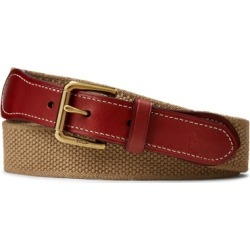 Ralph Lauren Webbed-Cotton-and-Leather Belt in Khaki - Size XS found on Bargain Bro from Ralph Lauren for USD $26.60
