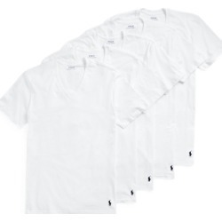 Ralph Lauren Classic Wicking V-Neck 5-Pack in White/Navy - Size S found on Bargain Bro from Ralph Lauren for USD $45.22
