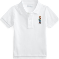Ralph Lauren Polo Bear Cotton Mesh Polo Shirt in White - Size 6M found on Bargain Bro from Ralph Lauren for USD $18.23