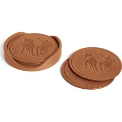Ralph Lauren Garrett Leather Coaster Set in Saddle - Size One Size