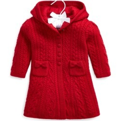 Ralph Lauren Cable-Knit Merino Wool Jacket in RL 2000 Red - Size 9-12M