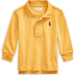 Ralph Lauren Piqué Long-Sleeve Polo Shirt in Gold Bugle - Size 18M found on Bargain Bro India from Ralph Lauren for $14.99