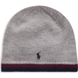 Ralph Lauren Striped Merino Wool Hat in Dark Sport Heather - Size One Size