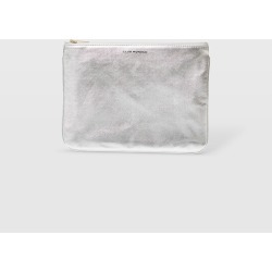 Club Monaco Silver CM Leather Logo Pouch in Size One Size found on Bargain Bro Philippines from Club Monaco Canada for $37.72