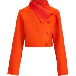 Ralph Lauren Jamie Two-Tone Wool Jacket in Tangerine/Tomato