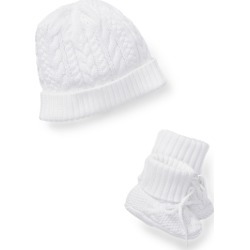 Ralph Lauren Cotton Hat & Booties Set in White - Size 6-9M found on Bargain Bro India from Ralph Lauren for $65.00