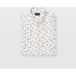Club Monaco White Multi Slim Short-Sleeve Ditsy Shirt in Size XL found on Bargain Bro Philippines from Club Monaco for $22.99