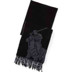 Ralph Lauren Big Pony Wool-Blend Scarf in Polo Black/Grey - Size One Size