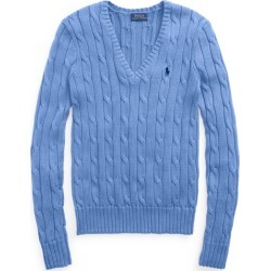Ralph Lauren Cable-Knit Cotton V-Neck Sweater in Harbor Island Blue - Size XS found on Bargain Bro from Ralph Lauren for USD $97.28