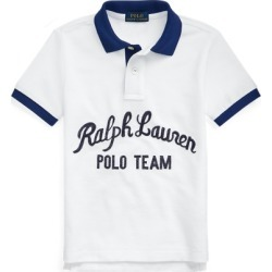 Ralph Lauren Polo Team Cotton Mesh Polo Shirt in White Multi - Size 4T found on Bargain Bro from Ralph Lauren for USD $26.59