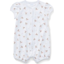 Ralph Lauren Polo Bear Cotton Romper in White/Pink/Multi - Size 3M found on Bargain Bro from Ralph Lauren for USD $26.60