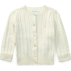 Ralph Lauren Cable-Knit Cotton Cardigan in White - Size 3M found on Bargain Bro from Ralph Lauren for USD $30.02