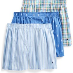 Ralph Lauren Classic Boxer 3-Pack in Stripe/Blue/White - Size L found on Bargain Bro from Ralph Lauren for USD $32.30