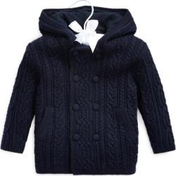 Ralph Lauren Aran-Knit Merino Wool Jacket in French Navy - Size 18-24M