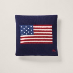 Ralph Lauren RL Flag Cotton Throw Pillow in Navy - Size 20