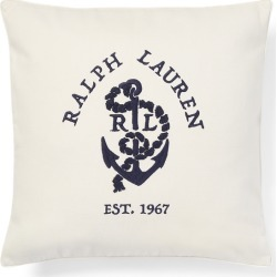 """Ralph Lauren Lucille Anchor Throw Pillow in Cream - Size 18""""x18"""""""