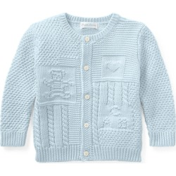 Ralph Lauren Contrast-Knit Cotton Cardigan in Beryl Blue - Size 24M found on Bargain Bro Philippines from Ralph Lauren for $49.50