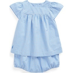 Ralph Lauren Gingham Top & Bloomer Set in Blue Multi - Size 12M