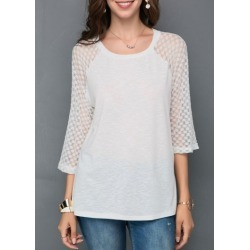 Mesh Dot Panel White T Shirt