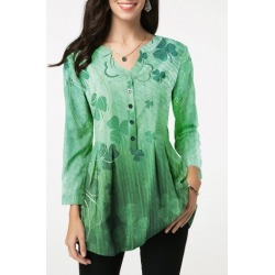 St Patricks Day Button Detail Printed Green Blouse