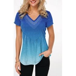 Short Sleeve Gradient V Neck T Shirt