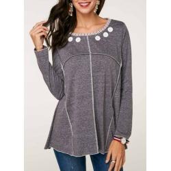 Button Detail Long Sleeve T Shirt
