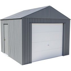 Everest Steel Garage, Wind and Snow Rated Storage Building Kit, 12 ft. x 10 ft. Charcoal
