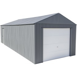 Everest Steel Garage, Wind and Snow Rated Storage Building Kit,, 12 ft. x 30 ft. Charcoal