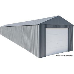 Everest Steel Garage, Wind and Snow Rated Storage Building Kit, 12 ft. x 55 ft. Charcoal