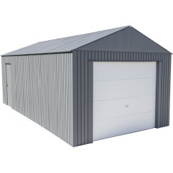 Everest Steel Garage, Wind and Snow Rated Storage Building Kit,, 12 ft. x 25 ft. Charcoal