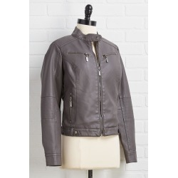 leather say never jacket - Gray