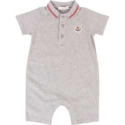 Boy's Stretch Pique Coverall, Grey, Size 6-9 mo | Moncler
