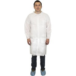 3X, White Polypropylene Economy Lab Coat, 3 Pockets,  Elastic Wrists (30 per Case) found on Bargain Bro Philippines from The Supplies Shop for $34.60