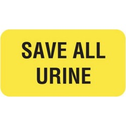 """Save All Urine 1-5/8"""" x 7/8"""" Fl-Yellow Label (Roll of 560)"""