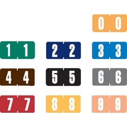 "Tab Compatible Mini Numeric Labels, Vinyl Kimdura Stock, 1/2"" X 1"" Individual Numbers - Roll of 1000"