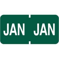 "Tab Compatible ""Jan"" Month Labels, Vinyl Kimdura Stock, 1"" X 1/2"", Individual Months - Roll of 500"