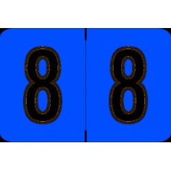 "Barkley NCPM Compatible Numeric ""8"" Labels, Laminated Stock, 1"" X 1-1/2"" Individual Numbers - Roll of 500"