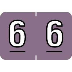 """Barkley NBKM Compatible Numeric """"6"""" Labels, Laminated Stock, 1"""" X 1-1/2"""" Individual Numbers - Roll of 500"""