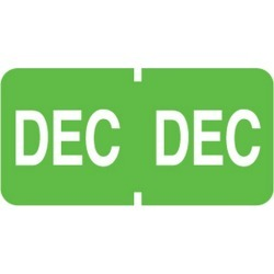 "Tab Compatible ""Dec"" Month Labels, Vinyl Kimdura Stock, 1"" X 1/2"", Individual Months - Roll of 500"