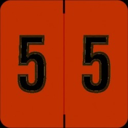 """Barkley FNBRM Compatible  """"5"""" Numeric Labels, Laminated Stock, 1-1/2"""" x 1-1/2"""" Individual Numbers - Roll of 500"""