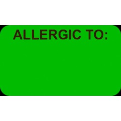 """Allergic To: 1-1/2"""" x 7/8"""" Fl-Pink Label (Roll of 250)"""
