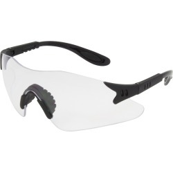 Black Frame w/Clear Wrap Around Lens w/Adjustable Temple (144 Pairs per Box)